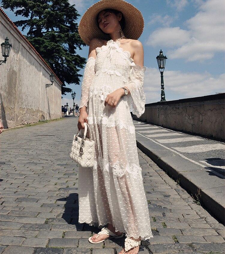 Для женщин белый Cold Shoulder Polka dotsilk платье миди