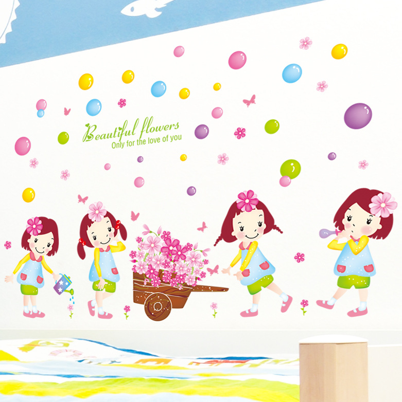 The new wall stickers manufacturers selling float cute girl Home decoration girls room stickers