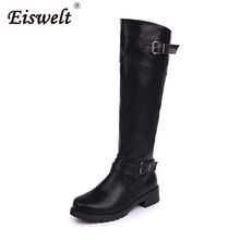 EISWELT Autumn and Winter Women Fashion Boots Long Tube Knights Female Sheos Thick and Large Belt Buckle Cross Border Boots