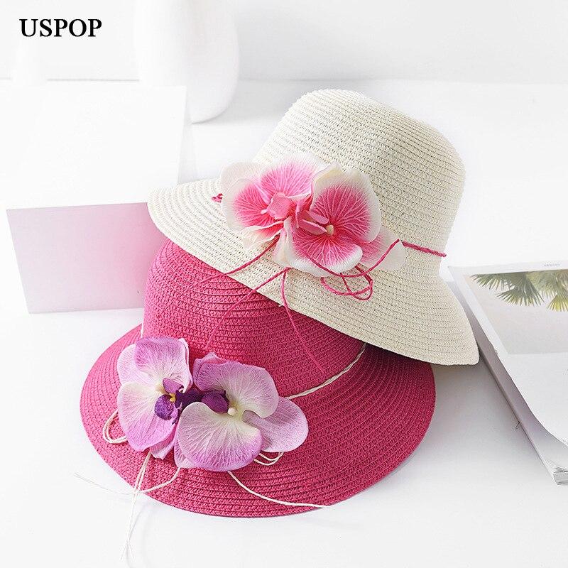 USPOP 2018 Più Nuovo disegno di marca donna cappello di estate del fiore  della signora cappelli di paglia casuale tesa larga floreale della spiaggia  di ... 25d8931a79c9