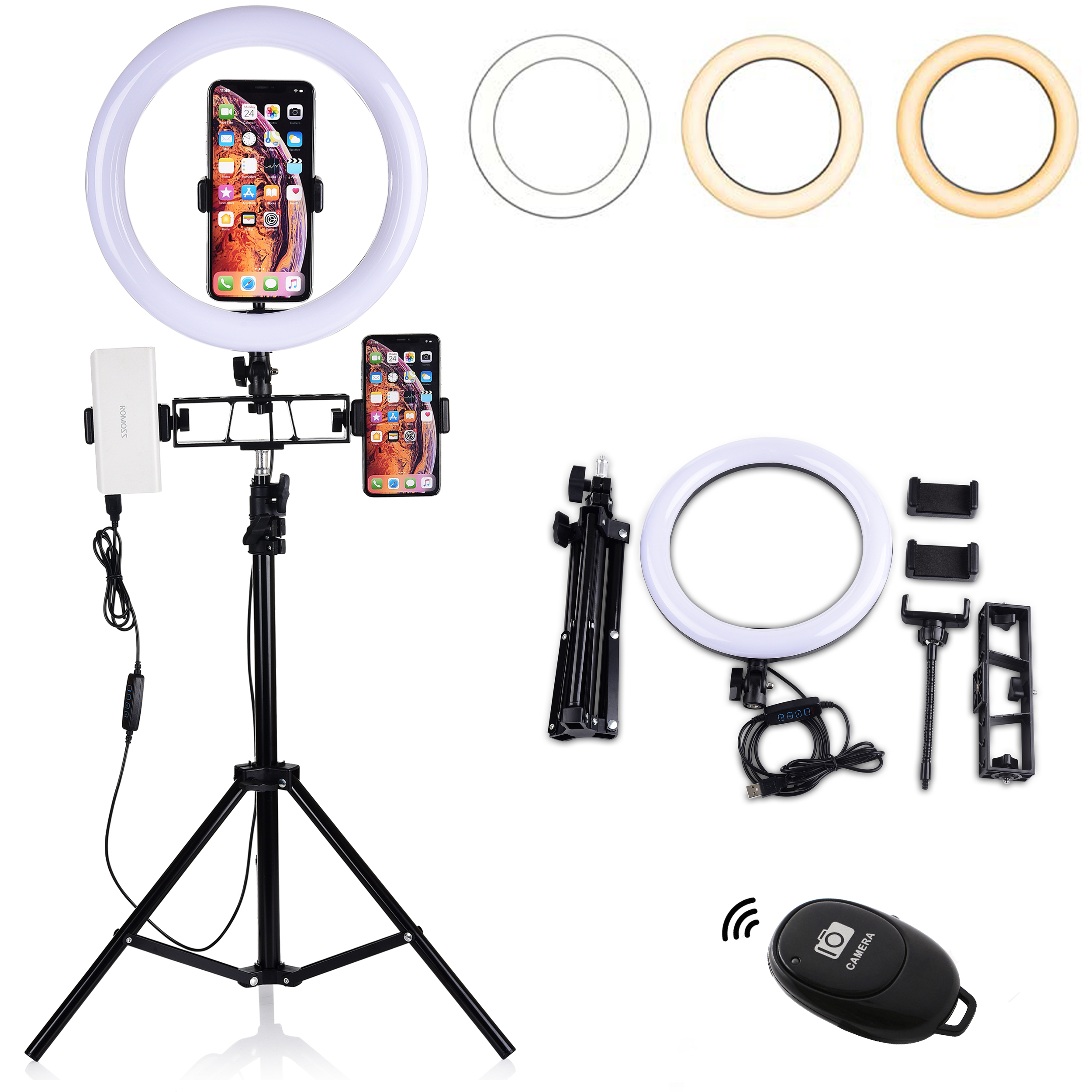 10/' 10 LED Ring Light with Tripod Stand Selfie Stick /& Cell Phone Holder Ring lamp for Live Stream YouTube Video Makeup Vlog Photography Compatible with iPhone Android