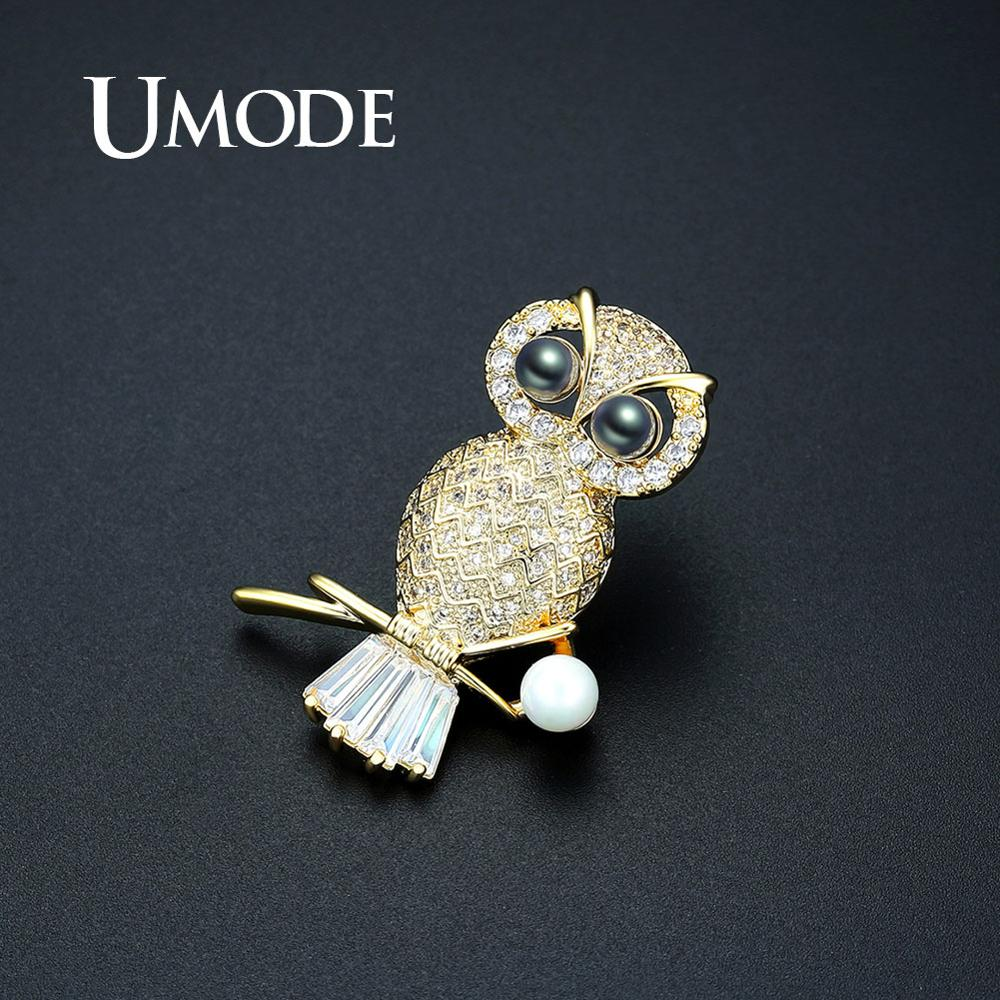 UMODE Fashion Vintage Pearl Pins Owl Brooch for Women Gold Color Brooches Wedding Suits Accessories Party Jewelry Gifts UX0014A in Brooches from Jewelry Accessories