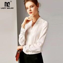 Рубашка женская, из 100% шелка, с длинным рукавом и треугольным вырезом, 2020