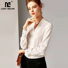 2020 100% Pure Silk Womens Runway Shirts Sexy V Neck Long Sleeves Embroidery Elegant Shirt Blouse