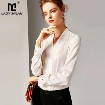 2020 100% Pure Silk Women's Runway Shirts Sexy V Neck Long Sleeves Embroidery Elegant Shirt Blouse black plung v neck lantern long sleeves plain blouse