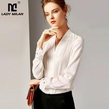 2020 100% camisas de pista femininas de seda pura sexy com decote em v mangas compridas bordado elegante camisa blusa