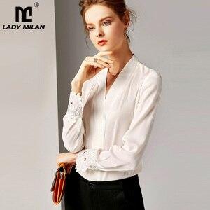 Image 1 - 2020 100% camisas de pista femininas de seda pura sexy com decote em v mangas compridas bordado elegante camisa blusa