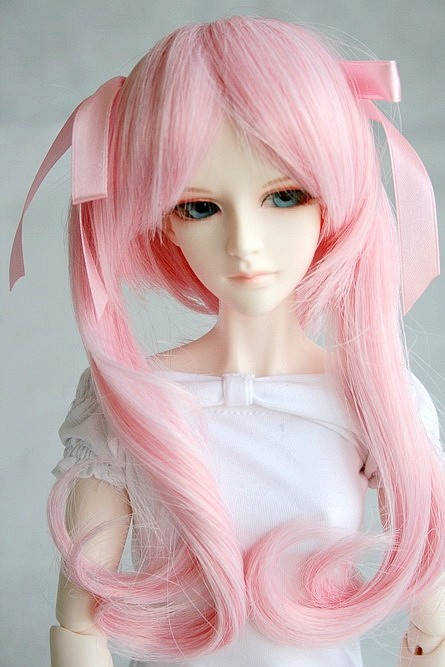 [wamami] 71# Wavy Pigtail Pink Wig 1/3 SD DZ DOD BJD Dollfie 8-9 synthetic bjd wig long wavy wig hair for 1 3 24 60cm bjd sd dd luts doll dollfie cut fringe