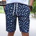 Hombres Pantalones Cortos de Mezclilla Estrella Impresión de La Cintura Elástico Junta de Verano Pantalones Cortos Homme Masculinas de marca