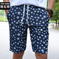 Homens Shorts Jeans Estrela Impressão Cintura Elástica Board Verão Calças Curtas Masculinas de marca Homme