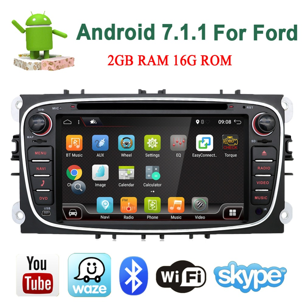 Bosion Quad Core 2din Android 7.1.1 Voiture DVD Radio pour Ford Mondeo C-max S max Wifi 3g GPS Navigation Bluetooth SD Écran Tactile