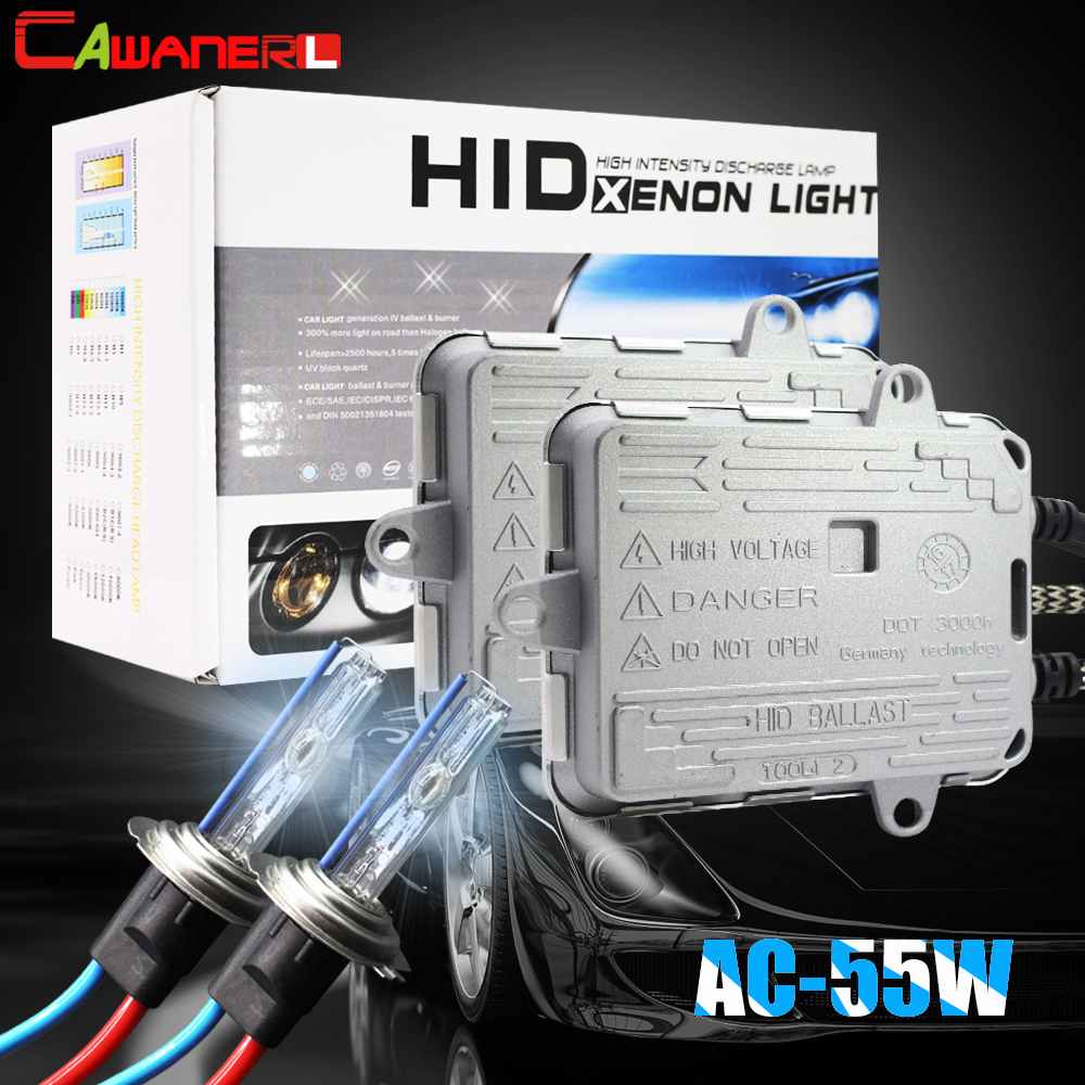 Cawanerl 55W Car Xenon Light HID Kit Slim Ballast AC Bulb Headlight Fog Light H1 H7 H8 H11 9005 HB3 3000K 4300K 6000K 8000K 12V