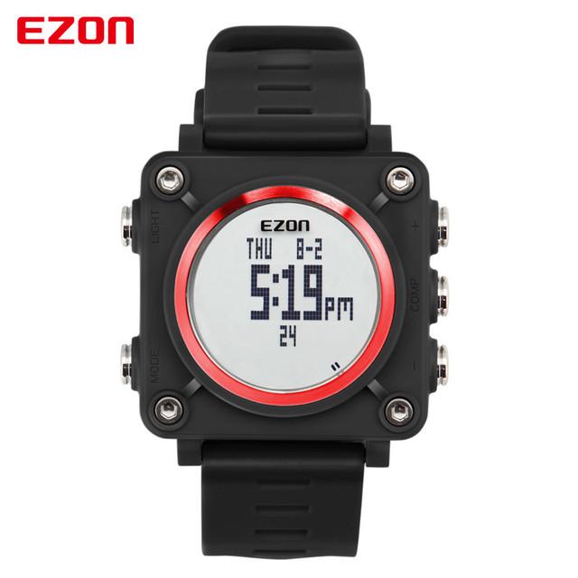 Marca de luxo Relógios Militares Homens EZON Digital Analógico 3D Rosto Relógios Desportivos bússola Exército Relógio Relogios Masculino