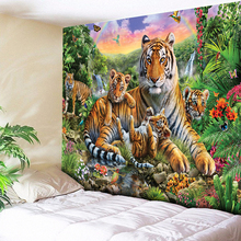 3D Tiger Tapestry Big Wall Hanging Psychedelic Rainbow Waterfall Mountain Animal Boho Decor Cloth