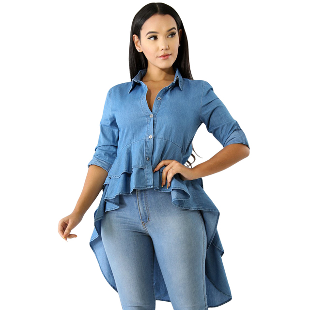 Summer Denim Shirts Long Sleeve Blue Jeans Asymmetrical Ruffle Blouse  Button Down Women Long Shirts Casual Slim Tops Blusa Mujer 19a10e2eb