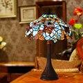 Светодиодная настольная лампа FUMAT  синее витражное стекло  светодиодная прикроватная настольная лампа для гостиной  светодиодное освещени...