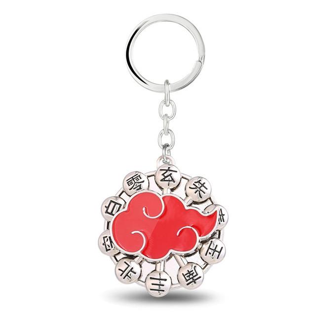 New Design Naruto Logo Red Metal Keychain