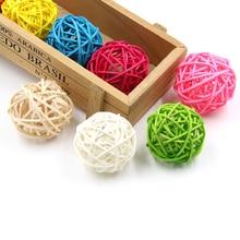10 adet 5CM 11 renkler Rattan top süsler Sepak Takraw ev noel/doğum günü düğün parti süslemeleri çocuk oyuncakları ahşap topları