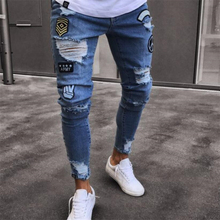 Men Stretchy Ripped Skinny Jeans Biker Embroidery Print High