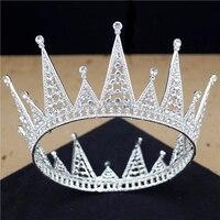 New Fashion Bridal Tiaras and Crowns Big Head Piece Wedding Hair Jewelry Silver Tiara Queen Crown Baroque Round Diadem Pageant