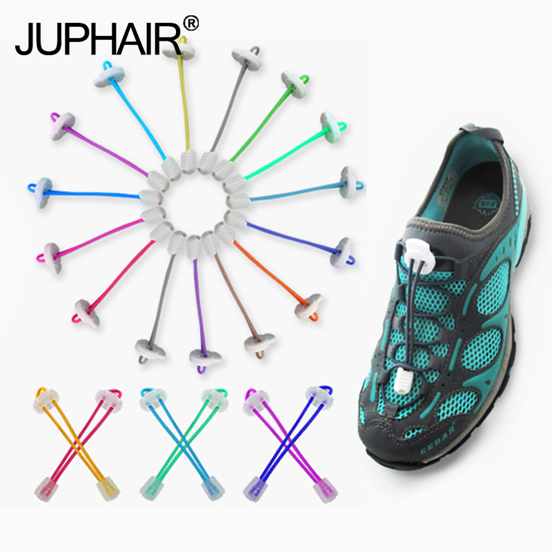 все цены на JUP1 Pair Locking Multi-color Shoelaces White Buckle Lazy Shoelace Sneaker Elastic Adult Children Safe Elastic Shoe Lace Cordone
