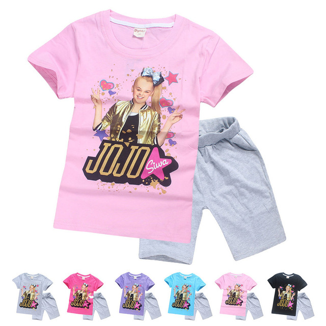 JOJO Siwa Girls Birthday Present Cotton Children Sky Dolls T Shirt Short Sleeve Summer Top Shorts Homewear Kids Clothes
