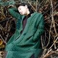 LinenAll ropa 100% de cáñamo tendencia nacional de diseño original de las mujeres verde de manga larga vestido de otoño de la vendimia floja del vestido MUYI