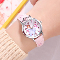 Disney brand children girl wristwatches quartz leather waterproof child watch Cartoon anime pink red