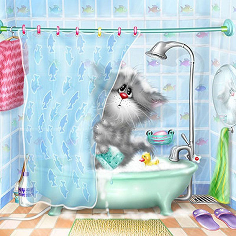 5D Diy Cross Stitch Diamantová malba Rhinestone Cat Bath Hlavní - Umění, řemesla a šití