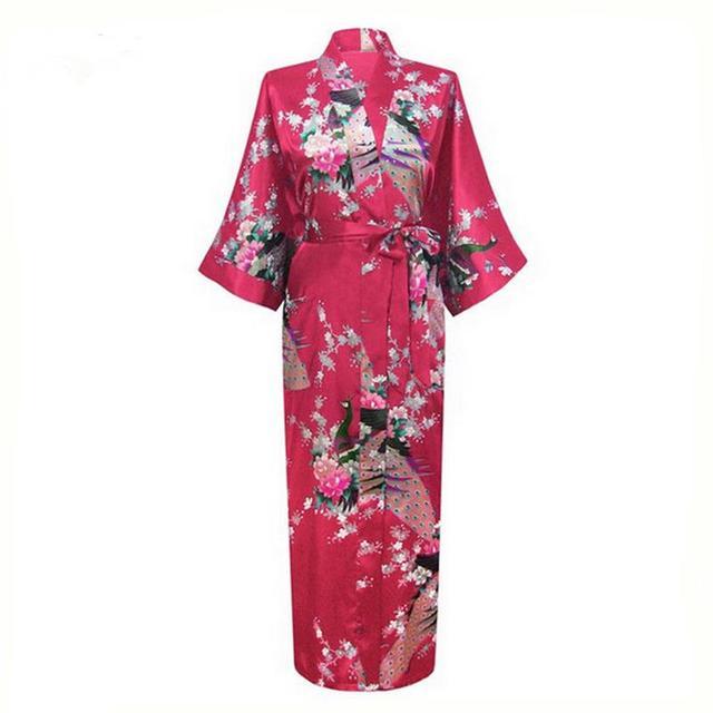 Новинка бургундии китайских шелковый атлас одеяния женщин длинные ночное свободного покроя кимоно платье цветок Большой размер sml XL XXL XXXL A-033