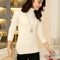 2015 autumn sweater ladies turtleneck pullovers slim solid color knitted basic shirt top quality JX244