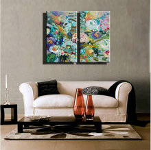 2 panel vintage abstract modern canvas art picture hand painted knife oil painting on canvas for living room office decor