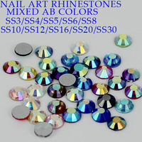 All Sizes Mixed Colors AB Coating Flatback Rhinestones Non Hotfix SS3 SS4 SS5 SS6 SS8 SS10