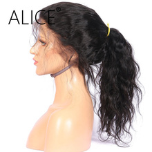 "ALICE Pre Plucked 360 Lace Frontal Wig With Baby Hair Long Ponytail 10-24"" Remy Hair Brazilian Human Hair Wigs For Black Women"