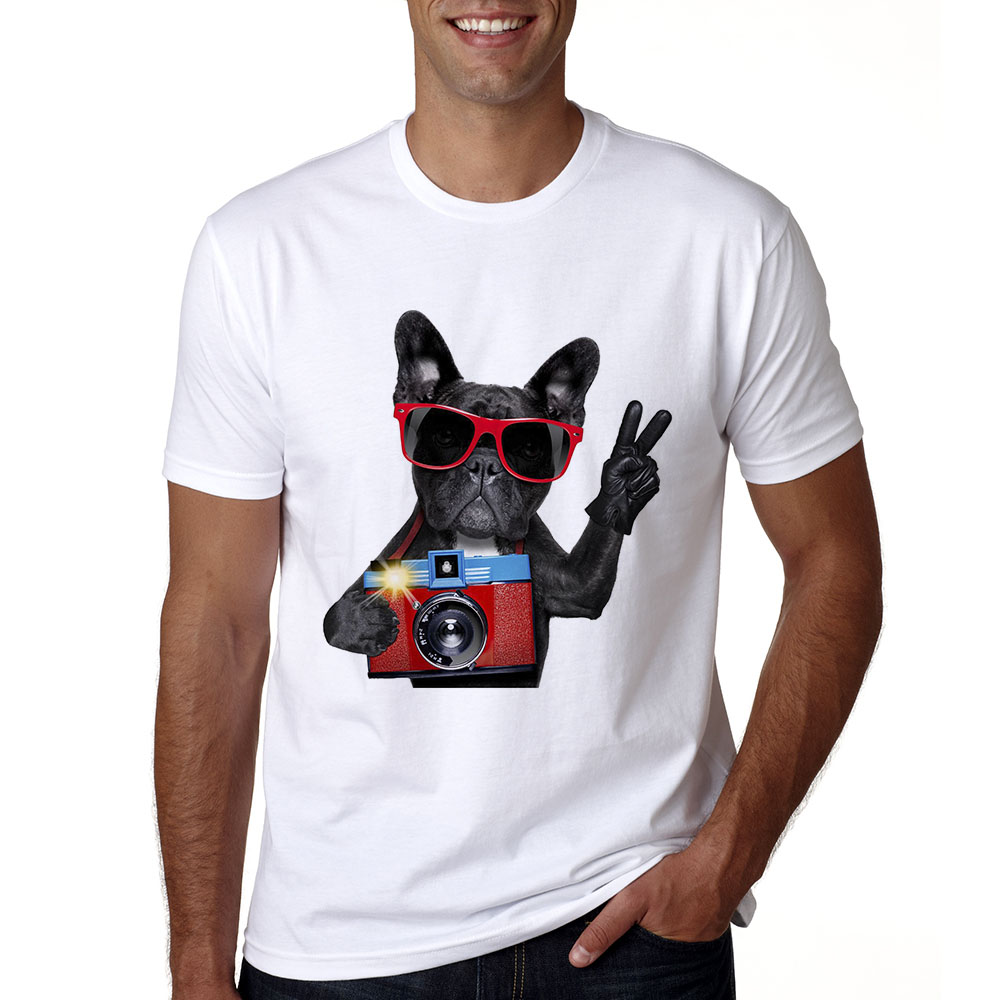 2018 Sommer Französisch Bulldog T Shirts Mann T-shirt Mode Französisch Bulldog Druck T Shirt Männer Tops Hipster Tees Lustig T-shirt