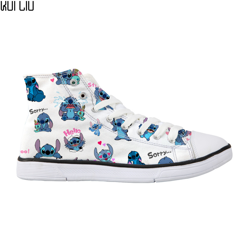 Customized Woman Casual Canvas Shoes Lilo Stitch High Top Shoes Independent Design Cartoon Style Women Breathable Custom Shoes(China)