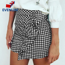 EVENLIM Sexy Chic Plaid Pencil Skirt Female Ruffle High Waist Short Skirts Womens Bottom Black Zipper Mini Skirt Summer DRT520