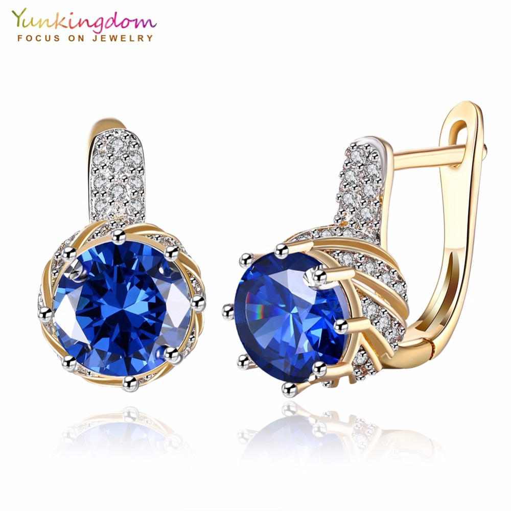 Yunkingdom Luxury Shiny Creolen für Frauen Round Cubic Zirconia Fashion Earring