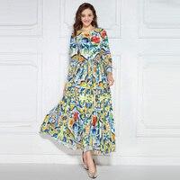 Europe Fashion Brand 2016 Autumn Newest O Neck Full Sleeve Colorful Porcelain Print Elegant Mid Calf