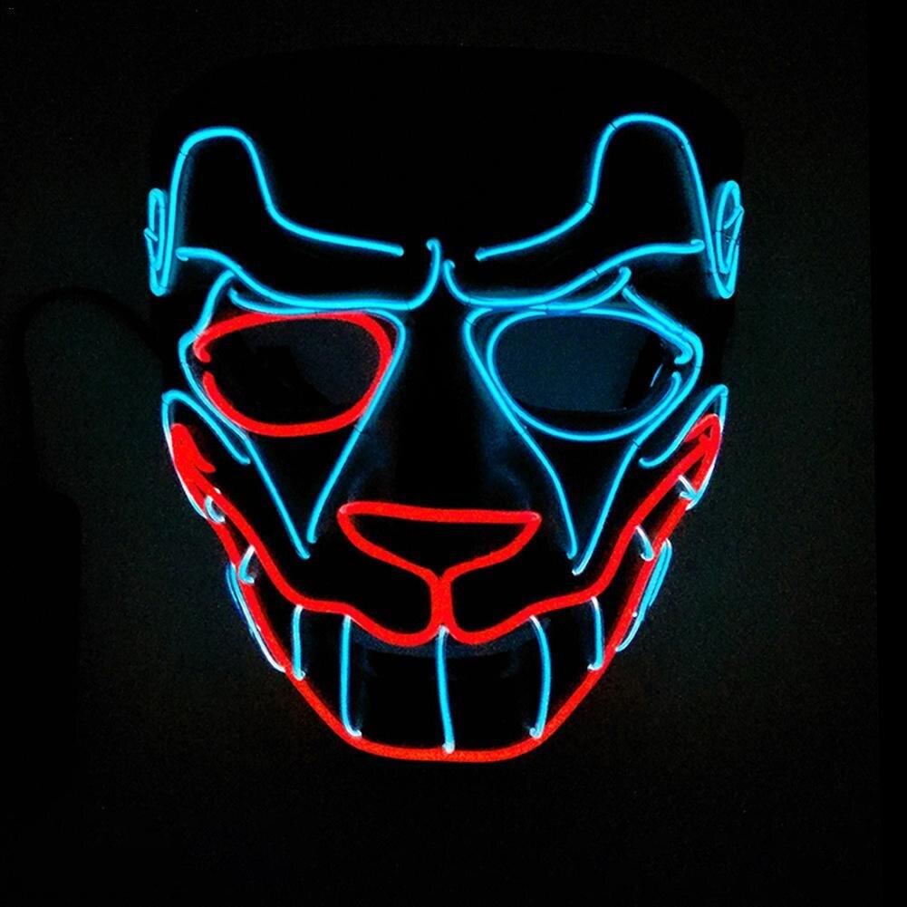 Leuke Grappige Masker Cat Koning Kerstman Masker Gloeiende Met Dc-3v Steady Op Led Halloween Lichten Horror Clown Masker Voor Halloween Weelderig In Ontwerp
