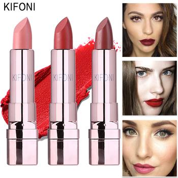 New Arrival KIFONI marka makijaż uroda matowy szminka długotrwały odcień usta kosmetyki sztyft do ust maquiagem makijaż czerwony batom tanie i dobre opinie Długotrwała KF-11 MINERAL 3 6G Chiny