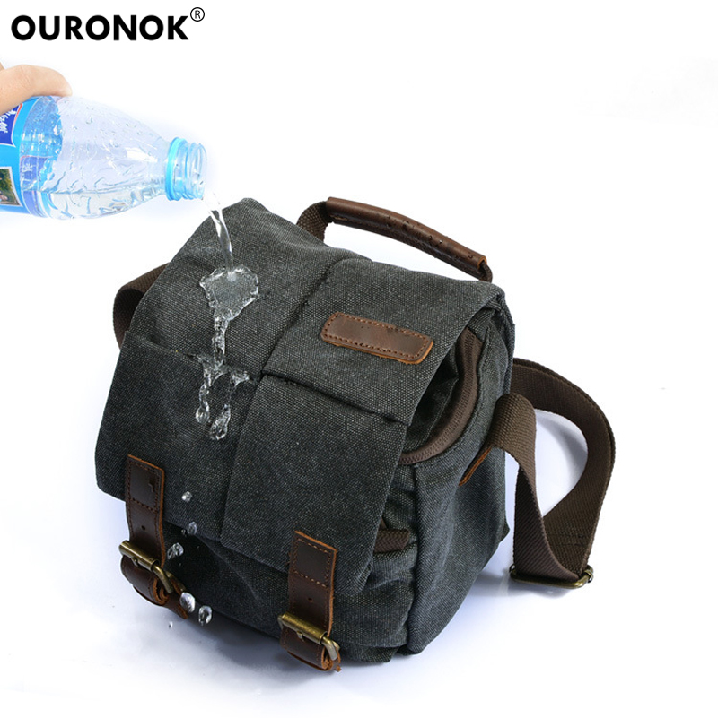 OURONOK Vintage Photography Package Waterproof Camera Bag Case DSLR Canvas Camera Bag Travel Single Shoulder Photo Package Bags