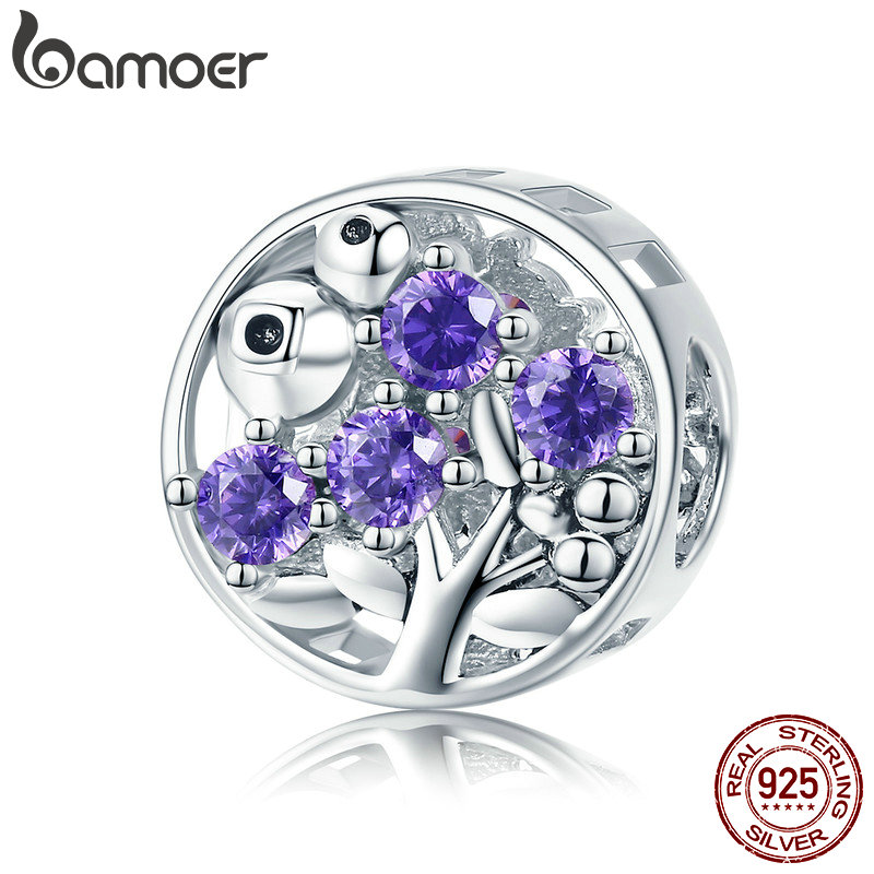 BAMOER New Collection 925 Sterling Silver Refreshing Blueberry Crystal Charms Fruit Beads fit Women Bracelet DIY jewelry BSC015