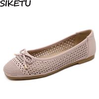 e35309627d0 SIKETU Women Casual Flats Cut Out Breathable Hollow Bow Knot Flat Heels  Bowtie Soft Flat Leather