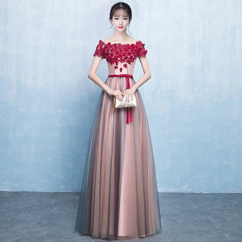 Élégante robe de mariée de demoiselle d'honneur mince pour les femmes corée Style princesse robes en mousseline de soie 2019 nouvelle fille de beauté remise des diplômes Cheongsam