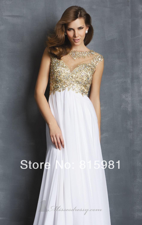 a1a4d6cfefd31 White Long Chiffon Evening Dress Formal Bridal Gown Plus Sizes With Gold  Appliques Beaded XS S M L XL XXL 3XL 4XL