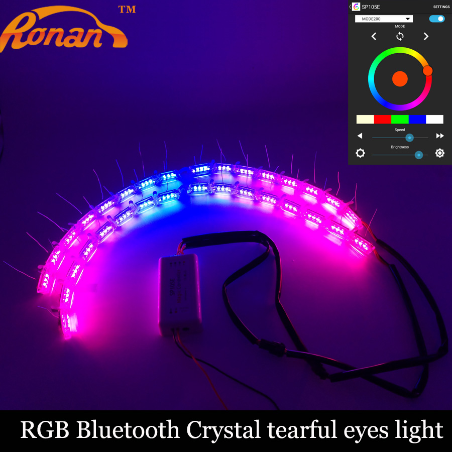 RONAN car-styling  RGB bluetooth LED strip tear light switchback lamp for car headlight flowing flashing  colorful DRL Signal
