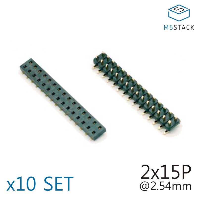 M5Stack Official 2x15 Pin Headers Socket 2.54mm Male & Female 10 SET Connector For M5Stack Core Development Kit