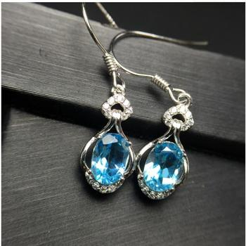Natural Blue topaz earring Free shipping Natural real Blue topaz 925 sterling silver 5*7mm