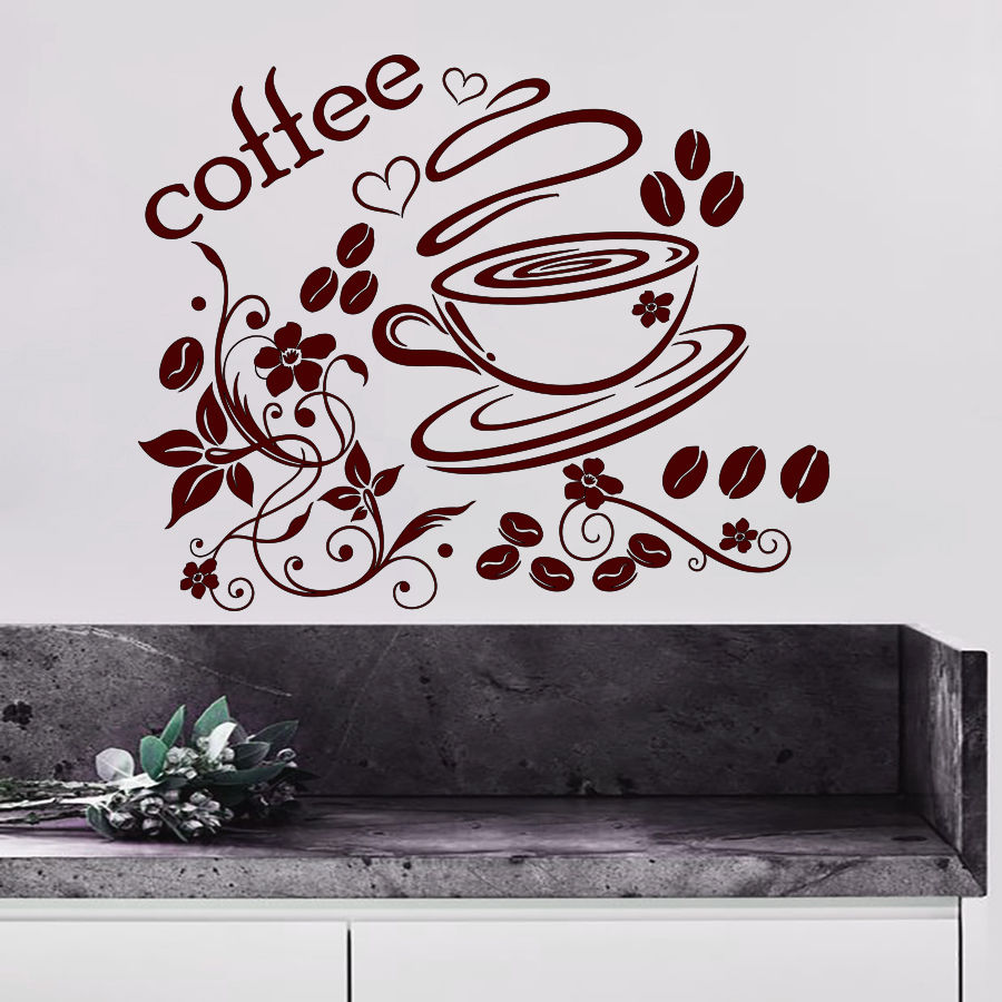 Coffee Wall Decals Cup Decal Vinyl Sticker Home Decor Interior Design Art -in Wall Stickers from Home u0026 Garden on Aliexpress.com | Alibaba Group  sc 1 st  AliExpress.com & Coffee Wall Decals Cup Decal Vinyl Sticker Home Decor Interior ...